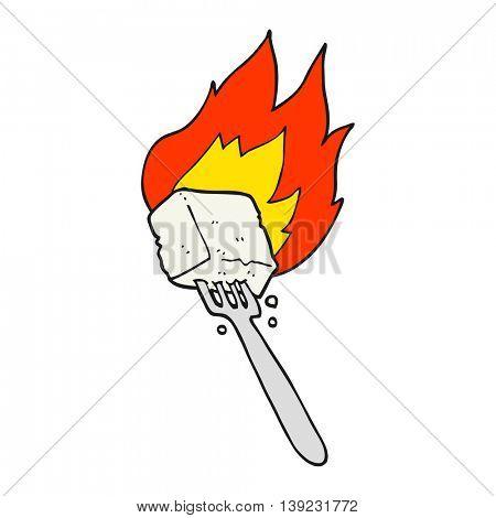 freehand drawn cartoon flaming tofu on fork