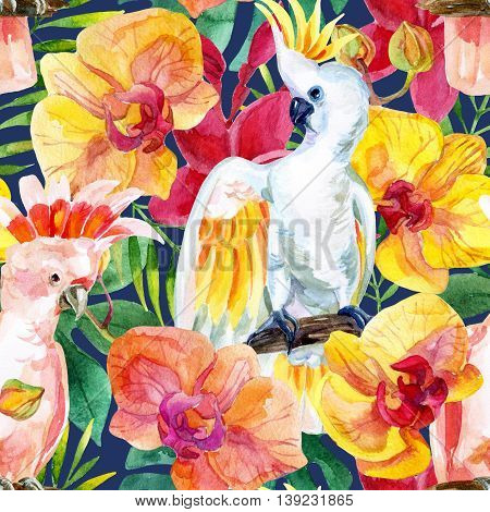 watercolor Australian Cockatoo on flower background hand painted seamless patern with parrots exotic flowers and tropical leaves