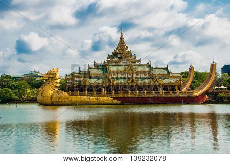 Gold Karaweik Palace, Yangon, Myanmar. Burma