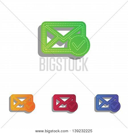 Mail sign illustration with allow mark. Colorfull applique icons set.