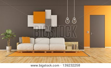 Brown And Orange Modern Living Room