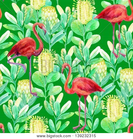 Seamless pattern with flamingo and jungle flowers on green background