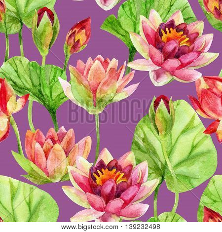 Hand painted lotus flower pattern. watercolor illustration