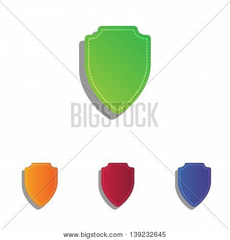 Shield sign illustration. Colorfull applique icons set.