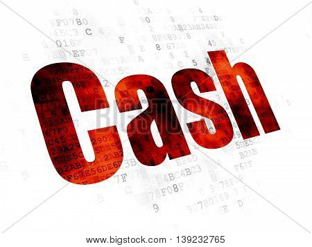 Currency concept: Pixelated red text Cash on Digital background