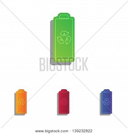 Battery recycle sign illustration. Colorfull applique icons set.