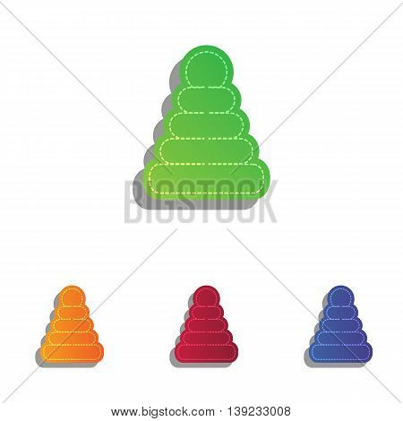 Pyramid sign illustration. Colorfull applique icons set.