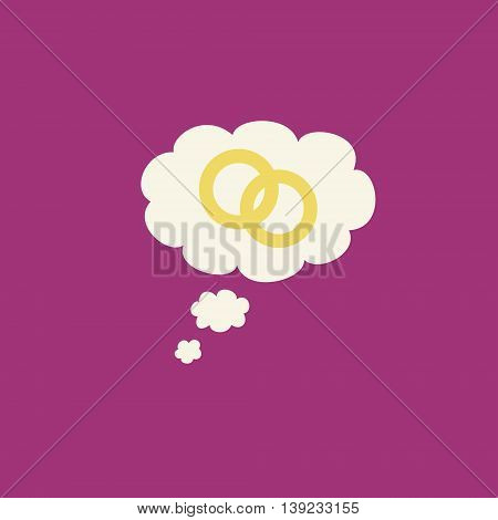 A simple marriage and engagement graphic with two rings inside a thought bubble on a pink background.