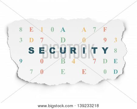 Security concept: Painted blue text Security on Torn Paper background with  Hexadecimal Code
