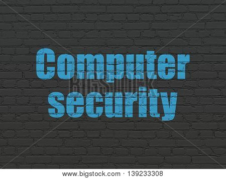 Security concept: Painted blue text Computer Security on Black Brick wall background