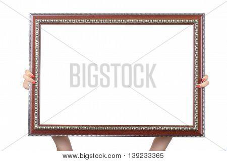 Hand holding frame isolated on white .