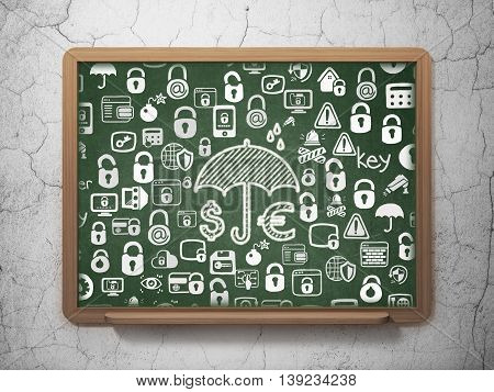 Protection concept: Chalk White Money And Umbrella icon on School board background with  Hand Drawn Security Icons, 3D Rendering