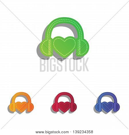 Headphones with heart. Colorfull applique icons set.