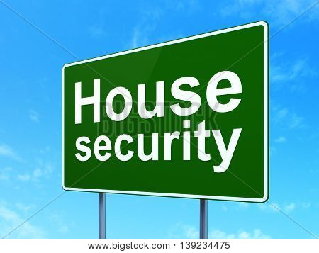 Safety concept: House Security on green road highway sign, clear blue sky background, 3D rendering