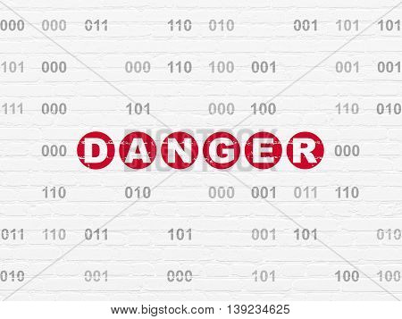 Privacy concept: Painted red text Danger on White Brick wall background with Binary Code