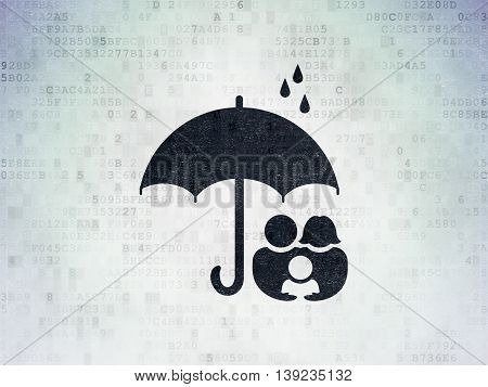 Privacy concept: Painted black Family And Umbrella icon on Digital Data Paper background