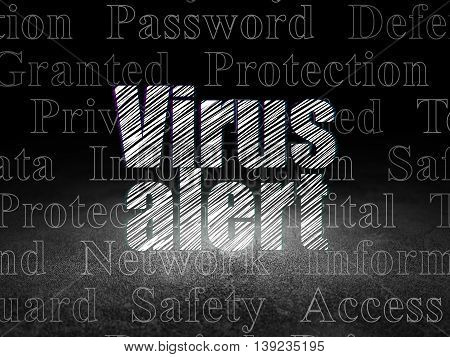 Protection concept: Glowing text Virus Alert in grunge dark room with Dirty Floor, black background with  Tag Cloud
