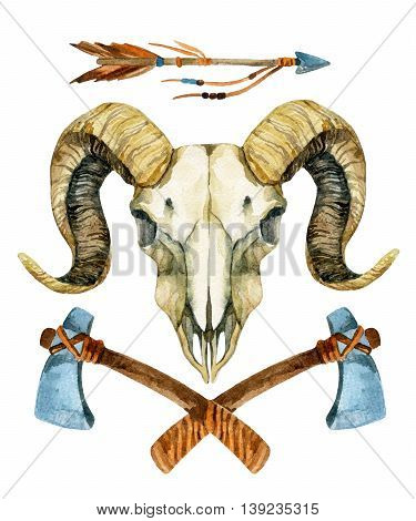 Ram skull. Sheep skull with tomahawk and arrow isolated on white background. Hand painted illustration