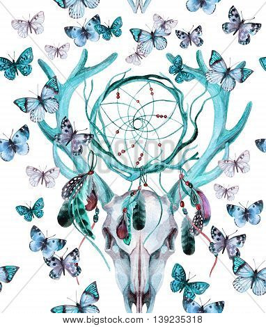 Deer skull seamless pattern. Animal skull with dreamcather and butterfly. Deer skull and ethnic dreamcatcher with feathers and butterfly seamless pattern on white background. Watercolor hand painted illustration.