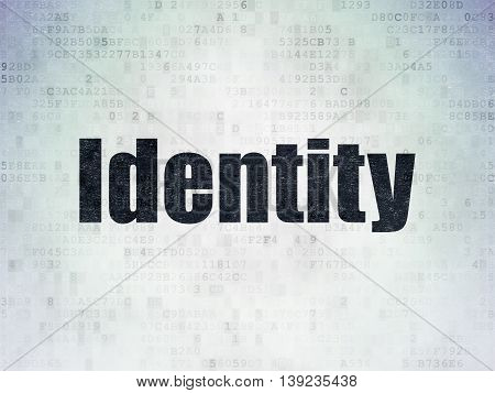 Security concept: Painted black word Identity on Digital Data Paper background
