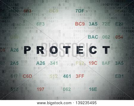 Privacy concept: Painted black text Protect on Digital Data Paper background with Hexadecimal Code