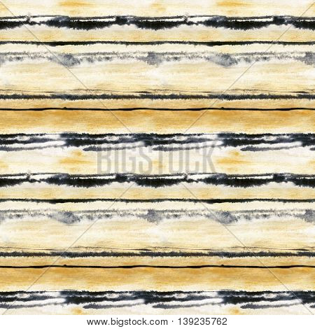 Watercolor striped abstract background. Golden and black stripes seamless pattern. Hand painted illustration in wet watercolor technique