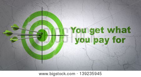 Success business concept: arrows hitting the center of target, Green You get what You pay for on wall background, 3D rendering