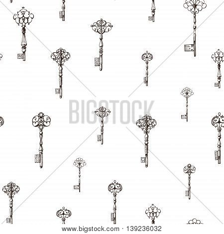 Vintage keys seamless pattern. Hand drawn illustration