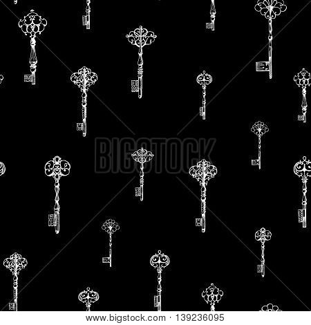 Vintage keys seamless pattern. Hand drawn illustration.