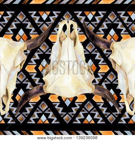 Watercolor ethnic seamless pattern with buffalo skull. Tribal geometric ornament. Hand painted illustration on black background