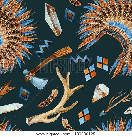 Tribal seamless pattern with native american headdresses arrow tomahawk gem feathers and ornament elements. Feathered war bonnet and tribal elements. Watercolor hand painted illustration