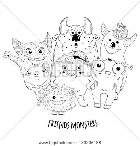 Cartoon cute character Monsters. Vector sketch illustration.