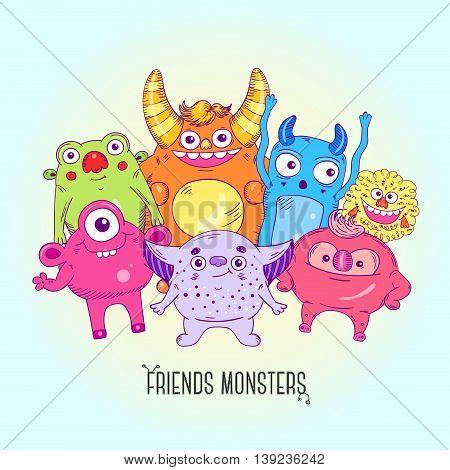 Cartoon cute character Monsters. Vector cartoon illustration.