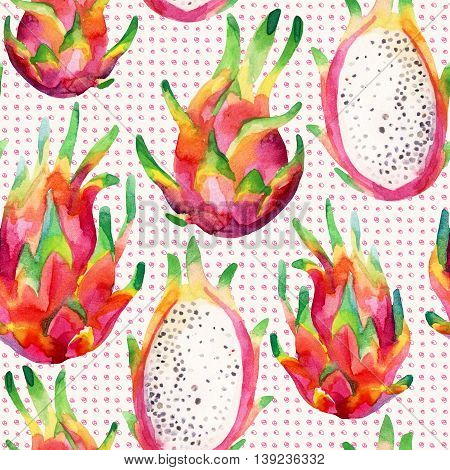 Watercolor dragon fruit seamless pattern on doodle background. Watercolor pitaya retro background. Hand painted exotic fruit illustration
