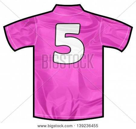 Number 5 five pink sport shirt as a soccer, hockey, basket, rugby, baseball, volley or football team t-shirt. For the goalkeeper or woman player