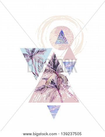 Abstract summer background. Triangles with palm tree leaf and marble grunge textures. Geometric design for t-shirt flyer or poster in retro vintage 80s 90s. Hand painted summer beach illustration