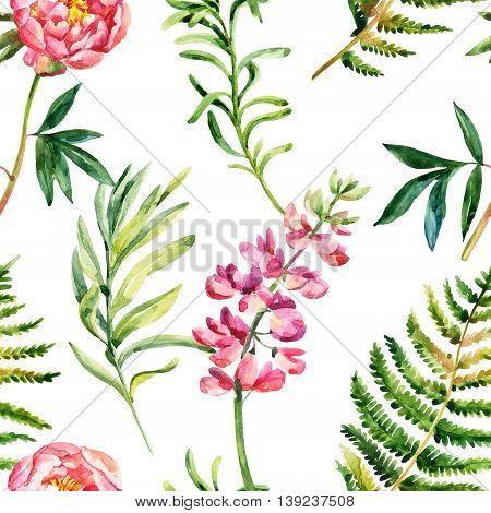 Watercolor garden flowers seamless pattern. Wild meadow flowers on white background. Hand painted floral illustration with paper texture