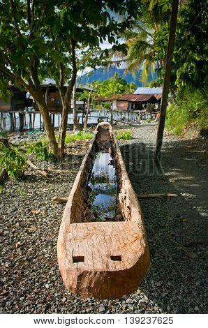 Boat near lake at New Guinea island Papua province