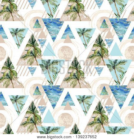 Abstract summer geometric seamless pattern. Circles triangles with palm tree leaf and marble grunge textures. Abstract beach background in retro vintage 80s or 90s. Hand painted summer illustration