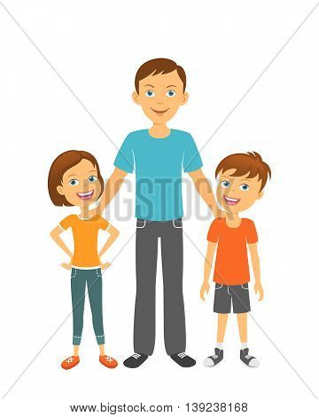 Father with kids. Happy family. Father with children