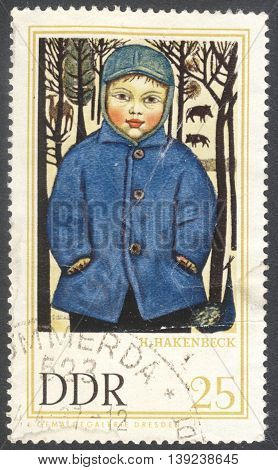 MOSCOW RUSSIA - CIRCA JANUARY 2016: a stamp printed in DDR shows the painting