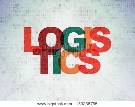 Finance concept: Painted multicolor text Logistics on Digital Data Paper background