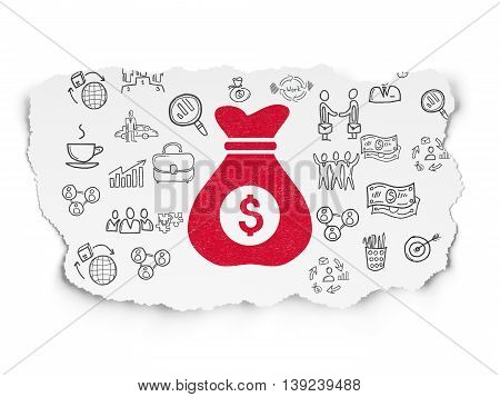 Business concept: Painted red Money Bag icon on Torn Paper background with  Hand Drawn Business Icons