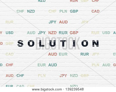 Business concept: Painted black text Solution on White Brick wall background with Currency