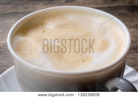 Cappuccino with milk foam detail close up.