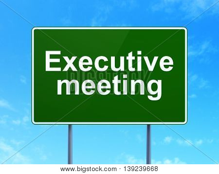 Business concept: Executive Meeting on green road highway sign, clear blue sky background, 3D rendering