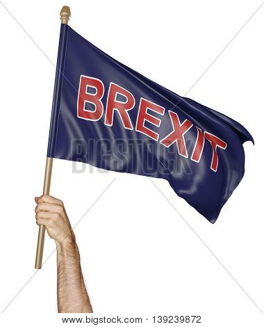Person's hand holding a waving flag with the word Brexit, 3D rendering