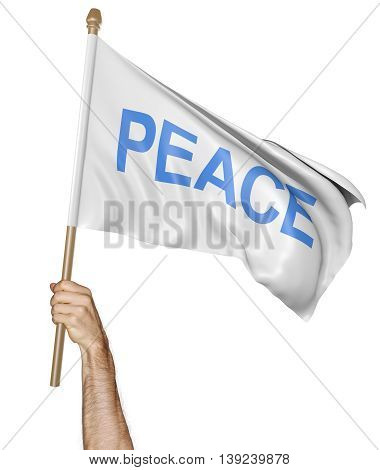Person's hand holding a waving flag with the word peace, 3D rendering