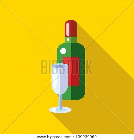 Champagne with a glass icon in flat style with long shadow. Drinks symbol