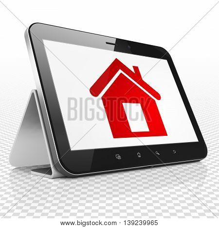 Business concept: Tablet Computer with red Home icon on display, 3D rendering